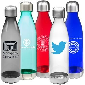 Bottle Cola 25 T 25 oz. transparent plastic bottle with stainless screw on cap and stainless bottom